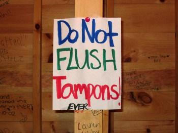 do not flush tampons