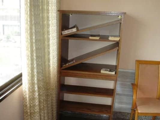 broken bookcase